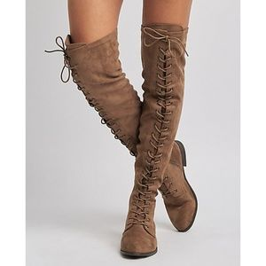 Shoes - Lace Up Over the Knee Taupe Suede Tall Boots